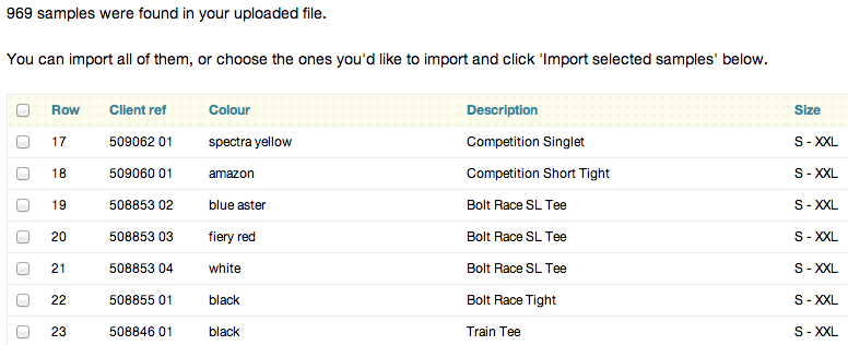 Choose samples to import