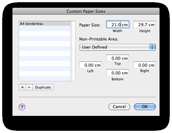 Custom paper size