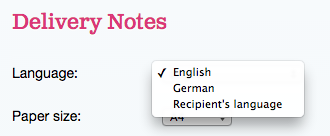 The language setting for delivery notes