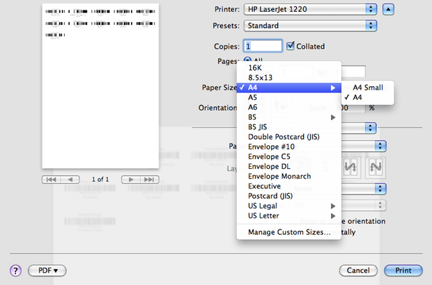 Printer dialog