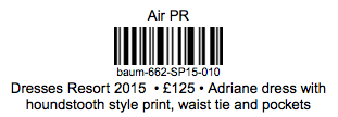 An example customised sample label
