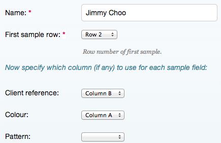 Define the spreadsheet layout